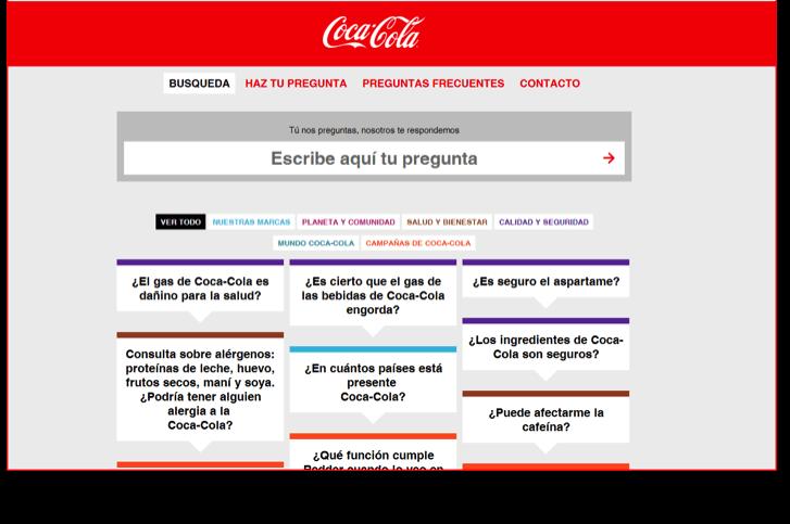 Coca Cola ejemplo de website y blog